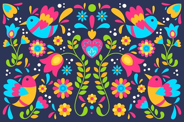 Fond De Fleurs Et D'oiseaux Mexicains Colorés Vecteur gratuit