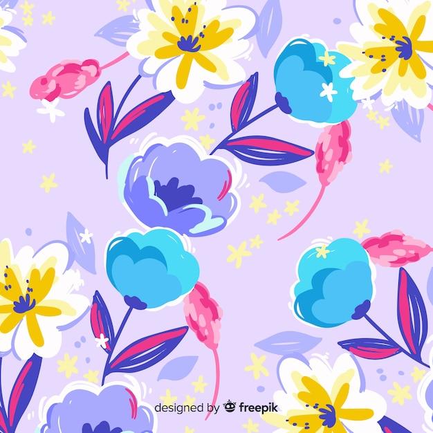 Fond de fleurs peintes à la main colorée Vecteur gratuit