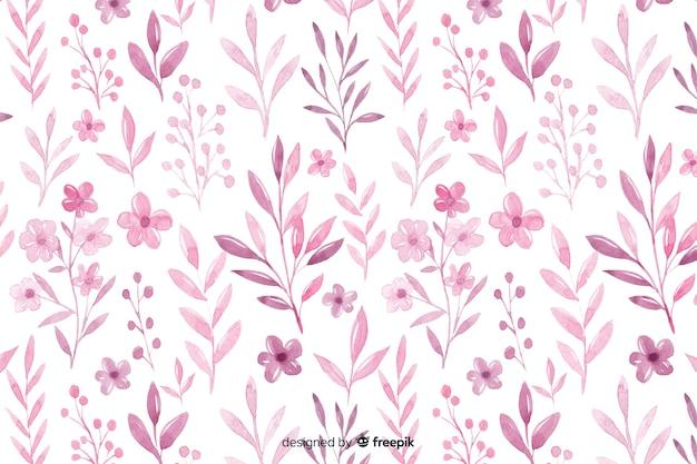 Fond de fleurs rose aquarelle monochromatique Vecteur gratuit