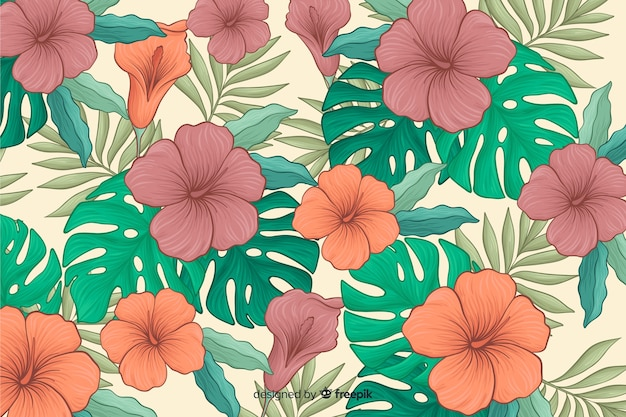 Fond de fleurs tropicales dessinés à la main Vecteur gratuit