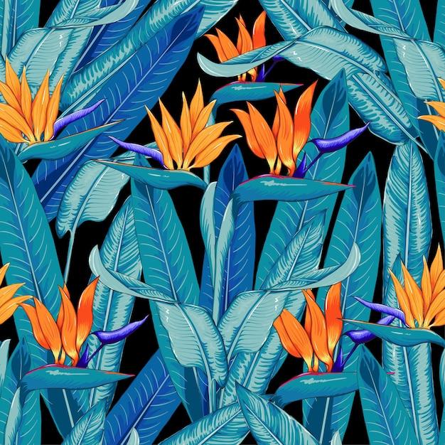 Fond de fleurs tropicales de modèle sans couture belle. Vecteur Premium