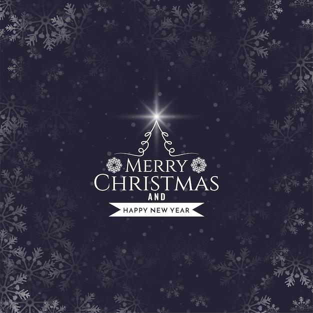 Fond De Flocons De Neige De Conception De Texte Joyeux Noël Vecteur gratuit