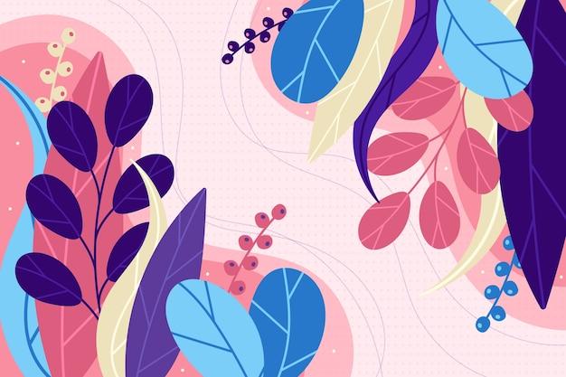 Fond Floral Abstrait Plat Vecteur gratuit