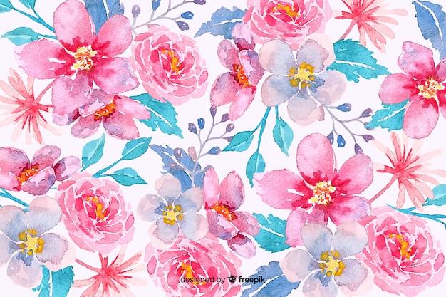 Fond floral aquarelle rose Vecteur gratuit