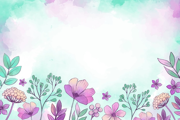 Fond Floral Aquarelle Vecteur gratuit