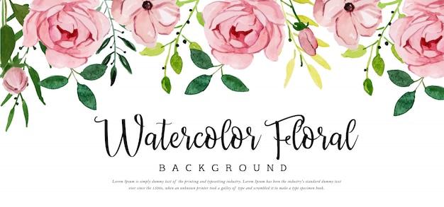 Fond floral belle aquarelle Vecteur Premium