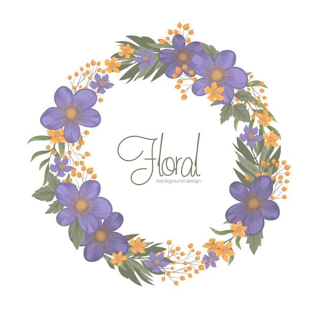 Fond floral bleu avec bordure de couronne Vecteur gratuit