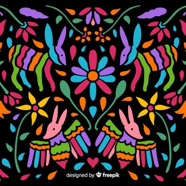 Fond floral de broderie colorée Vecteur gratuit