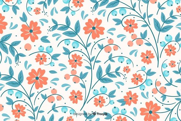 Fond floral de broderie dessiné à la main Vecteur gratuit