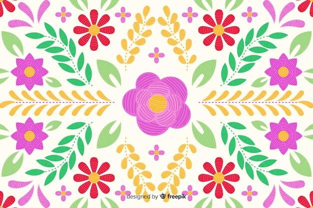 Fond floral de broderie Vecteur gratuit