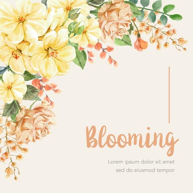 Fond floral avec cadre Vecteur gratuit
