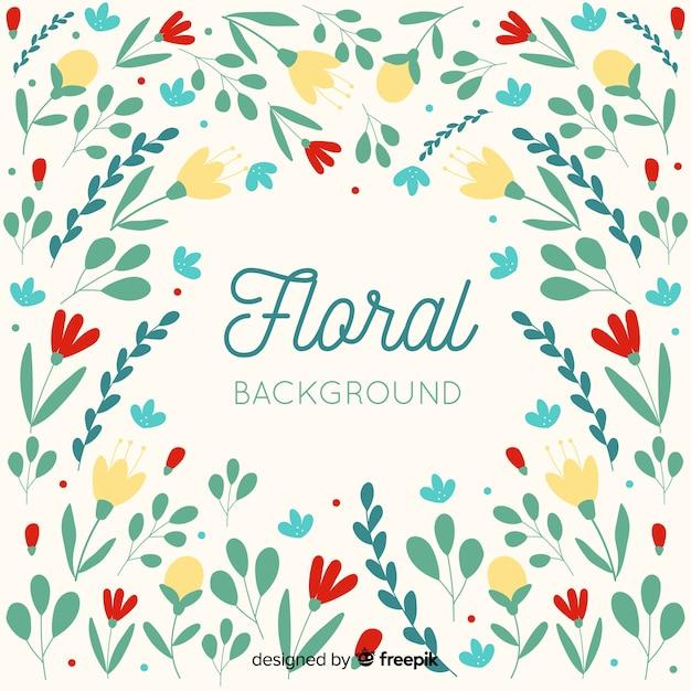 Fond floral coloré design plat Vecteur gratuit