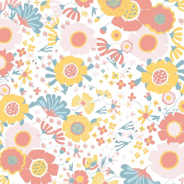 Fond floral coloré Vecteur Premium