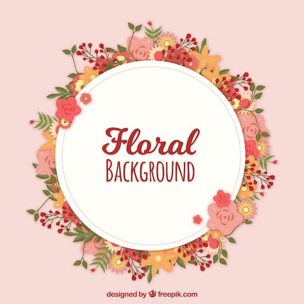 Fond Floral Avec Une Couronne Vecteur gratuit