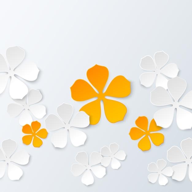 Fond floral de papier Vecteur gratuit