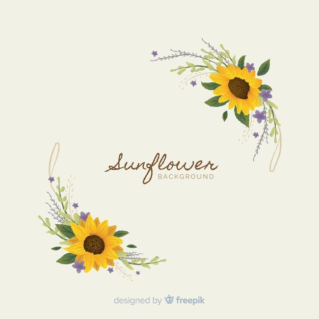 Fond floral dessiné avec du texte à la main Vecteur gratuit