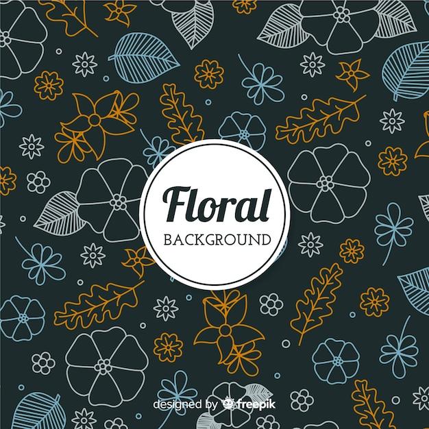 Fond floral doodle Vecteur gratuit