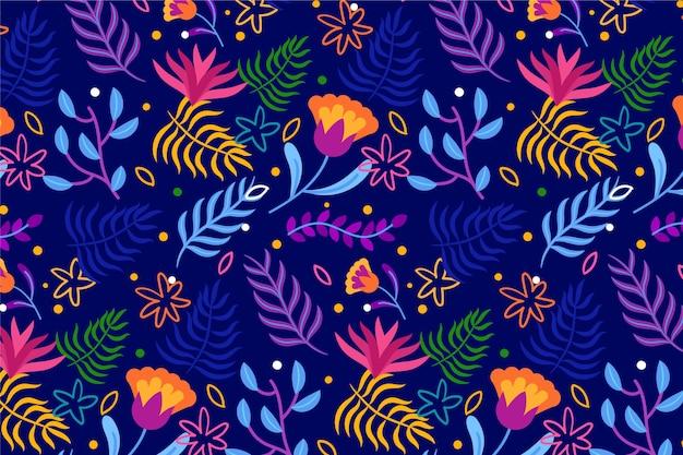 Fond Floral Exotique Coloré Vecteur gratuit