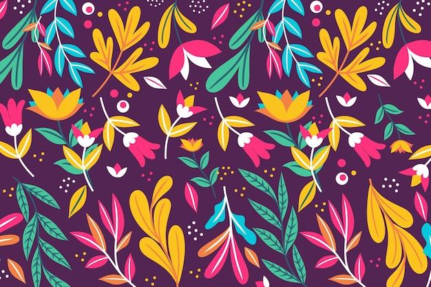 Fond Floral Exotique Avec Des Feuilles Vecteur gratuit