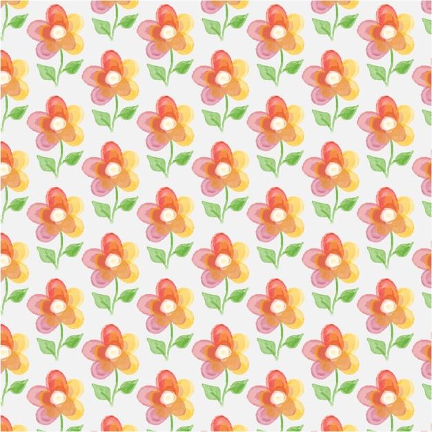 Fond Floral Avec Fleur D'aquarelle Vecteur Premium