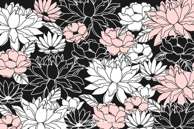 Fond floral foncé dessiné à la main Vecteur gratuit
