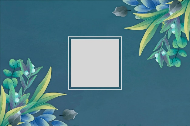 Fond Floral D'hiver Avec Badge Vide Vecteur gratuit