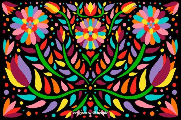 Fond floral mexicain de broderie Vecteur gratuit