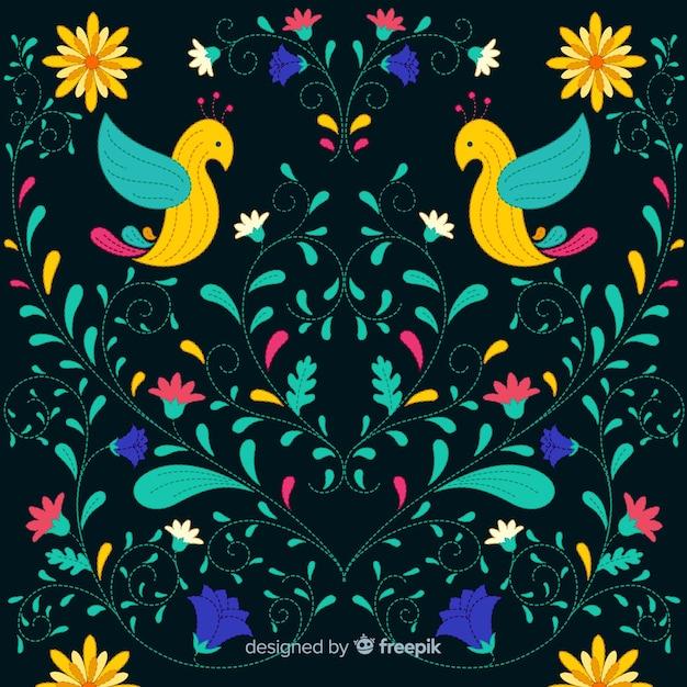 Fond floral mexicain coloré de broderie Vecteur gratuit