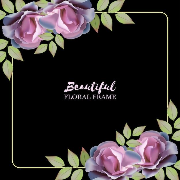 Fond floral multi-usage avec cadre rose pourpre Vecteur Premium