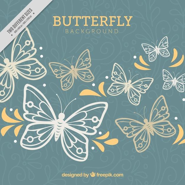 Fond floral avec des papillons et des formes jaunes Vecteur gratuit