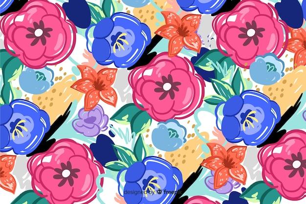 Fond floral peint avec des formes abstraites Vecteur gratuit