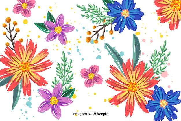 Fond Floral Peint à La Main Vecteur gratuit