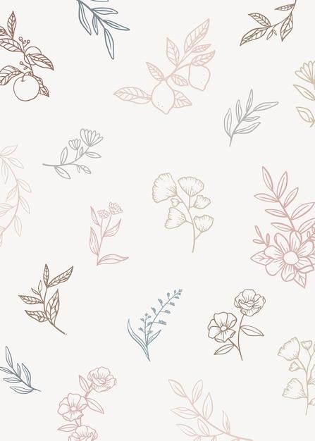 Fond floral avec des plantes de griffonnage Vecteur gratuit