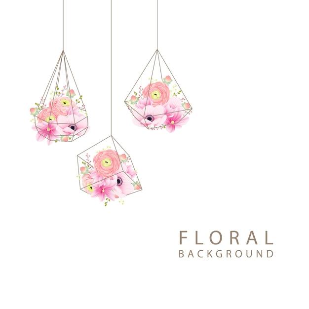 Fond floral ranunculus magnolia et fleurs d'anémone Vecteur Premium