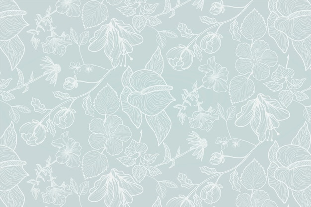 Fond floral réaliste dessiné à la main Vecteur gratuit