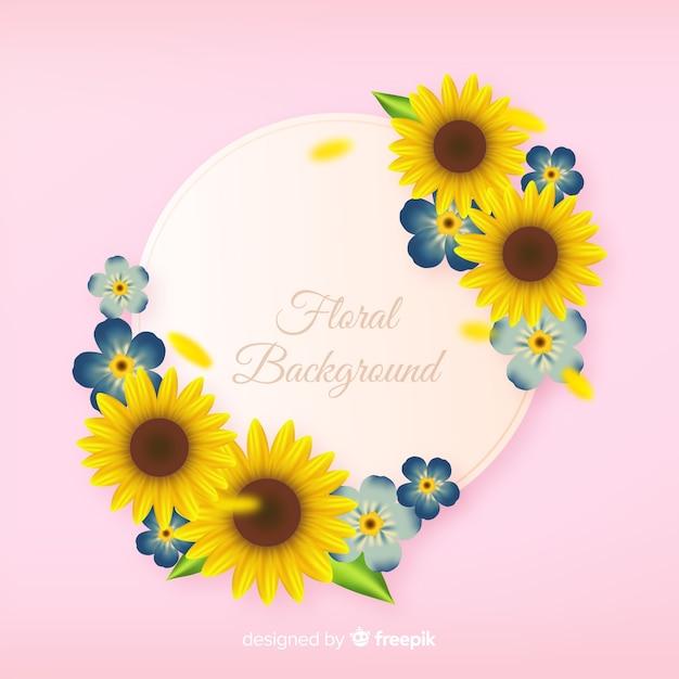 Fond floral réaliste Vecteur gratuit