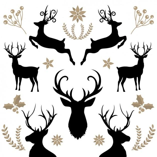 Fond floral avec reindeers Vecteur gratuit