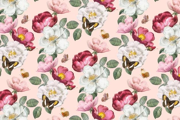 Fond Floral Romantique Vecteur gratuit
