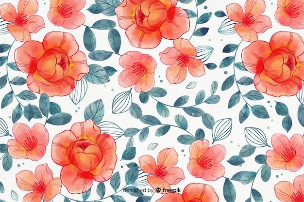 Fond floral de style aquarelle coloré Vecteur gratuit
