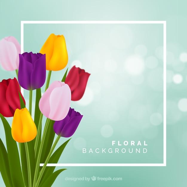 Fond Floral Avec Des Tulipes Réalistes Vecteur gratuit