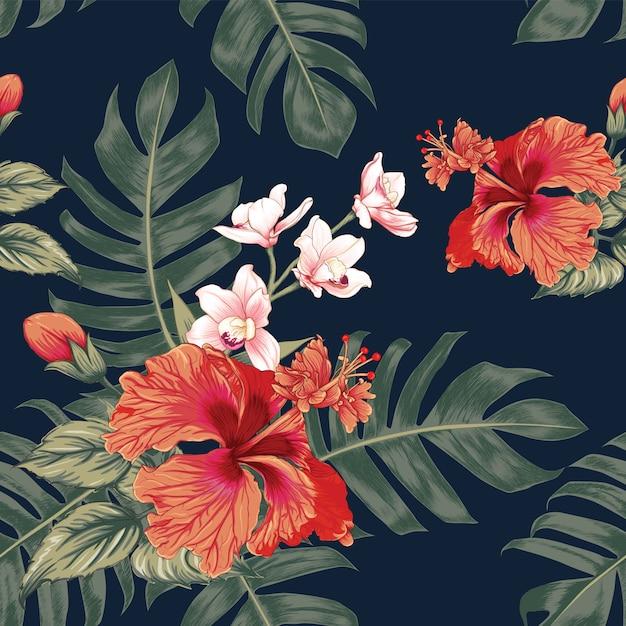 Fond floral vintage dessiné à la main Vecteur Premium