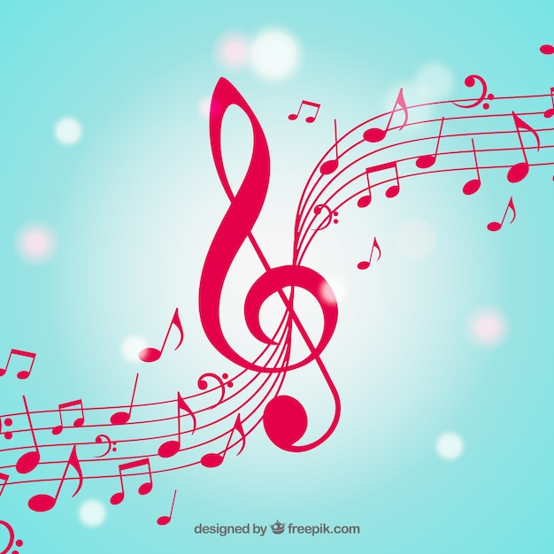 Fond Flou Des Notes Musicales Avec Clef Triple Vecteur Premium