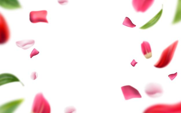 Fond Flou De Pétales De Rose Et De Feuilles. Vecteur Premium