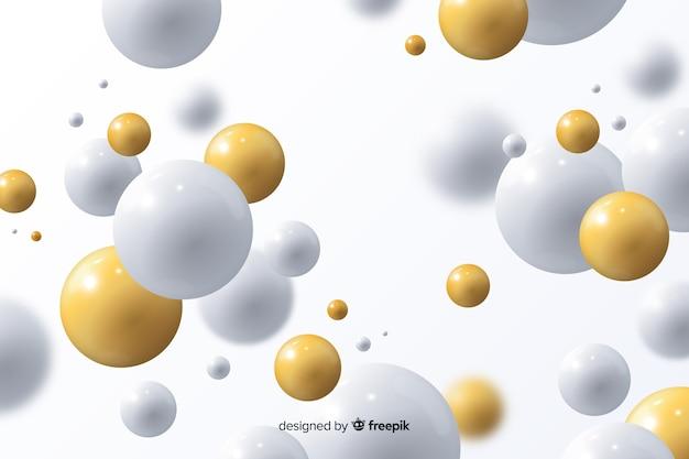 Fond fluide réaliste avec des boules brillantes Vecteur gratuit