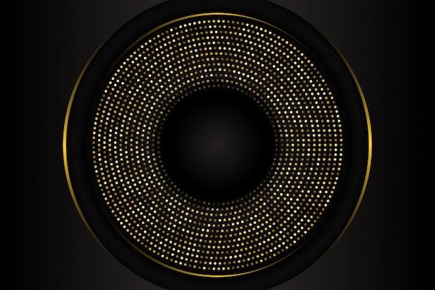Fond de forme de cercle noir de luxe avec une combinaison de points dorés brillants Vecteur Premium