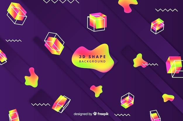 Fond de formes 3d dégradé coloré Vecteur gratuit