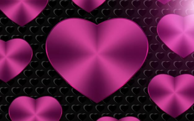 Fond De Formes De Coeur Métallique Rose Vecteur Premium