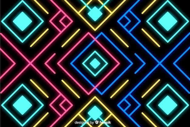 Fond avec des formes géométriques et style néon Vecteur gratuit