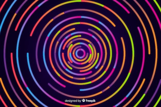 Fond de formes néon circulaire Vecteur gratuit