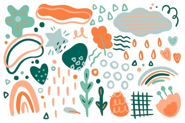 Fond De Formes Organiques Abstraites Dessinées à La Main Vecteur gratuit